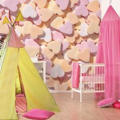 Baby Nursery, Give a Nice Welcome to the Newly Born with Cute Baby Nursery Room Designs: Cool Pink Hearts Wall Covering For Baby Girl Nursery Room Design Room Decor For Teen Girls, Baby Girl Room Decor, Girl Nursery Themes, Baby Room Design, Baby Bedroom, Nursery Design, Wall Design, Nursery Ideas, Bedroom Ideas