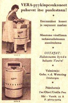 Mainos: Vera-pyykinpesukone/1952