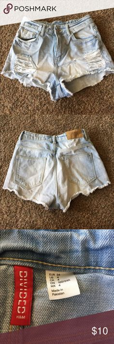 High-waisted shorts High waisted light wash shorts from H&M. only worn a couple times H&M Shorts Jean Shorts
