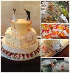 #baseball #weddingcake wedding at Northeast Wedding Chapel www.WaltersWeddingEstates.com