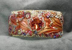 Bead Embroidery Cuff Bracelet - Aurora's Jewels - Rivolis, Silk, Gold-Filled Clasp