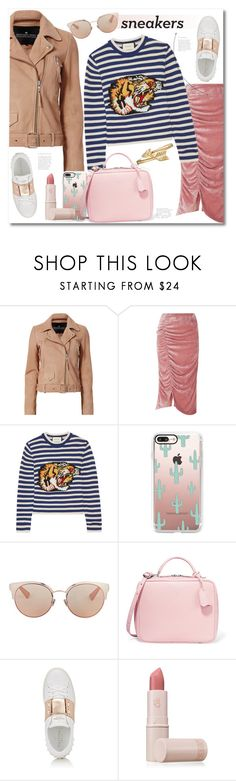 """Get the look white sneakers"" by vkmd on Polyvore featuring Designers Remix, VIVETTA, Gucci, Casetify, Christian Dior, Mark Cross, Valentino, Lipstick Queen, Bling Jewelry and whitesneakers"