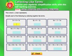 Collecting Like Terms Algebra, Self, Exercise, Activities, Math, Collection, Ejercicio, Tone It Up, Math Resources