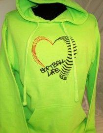 Softball Hoodie (Softball Life) embroidered Neon Green