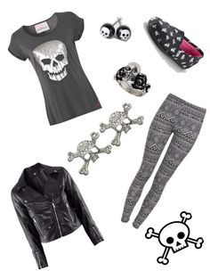 """""""skulls"""" by eputman ❤ liked on Polyvore"""