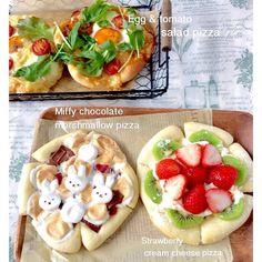 ピザを3種類焼きました 今日はカットしやいすいように 端を少し切ってみました 長女のお気に入り  チョコとマシュマロ クランベリーのピザは #ミッフィー にしてみましたが いつものちょっと怒り顔になってしまいました   #手作り#手作りパン#手作りピザ#ピザ#おうちカフェ#暮らし#おうちパン#コッタ#クッキングラム#日本が元気になるご飯 #手作りおやつ#おやつ#スイーツピザ#チョコチャンクピザ#デリスタグラマー #homemade#pizza#kurashiru#kurashirufood#kaumo#lin_stagrammer#kawaiifood by kiyochannn