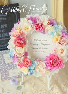大人かわいいパステルカラーのウェルカムリース∞ | ウェディング&フラワーリースのMilkyFlower* Giant Flowers, Diy Flowers, Paper Flowers, Wedding Flowers, Wedding Boxes, Wedding Frames, Diy Wedding, Wedding Stage Decorations, Wedding Wreaths