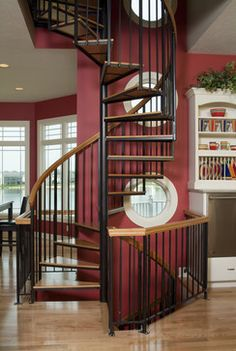 spiral with wood banister