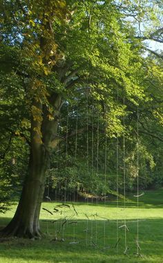 Bart Ensing - Dwarrelende takken. Een installatie gemaakt tijdens Kunst in Duin 2014 in de tuinen van Kasteel Keukenhof