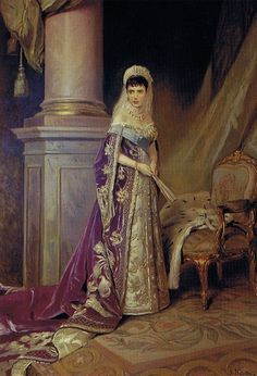 Marie Feodorovna, Empress of Russia, and consort of Tsar Alexander III. Born Princess Dagmar of Denmark, she was a younger sister of Alexandra, Princess of Wales, and known as Minnie in her family. She was determined, kind, and rather smothering to her children. Here she is portrayed in full Russian court dress, with the Order of St. Andrew, on her gown. She loved Society, gossip, dancing, but endured a terrible exile when the Revolution occurred. Painted in 1912.