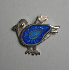 Bluebird pendant in fired glass vitreous enamel and sterling silver by Sasha Leon Sculpture & Jewellery at www.slsj.co.za