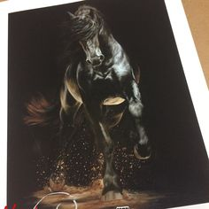 "Prints of my Friesian painting ""Shadow Step"" are here!!! Aren't they gorgeous?! #horse #friesians #friesiansofinstagram #friesianhorse #friesianlove #friesianstallion #blackhorsesofinstagram #horseart #horsesofinstagram #horseartist"