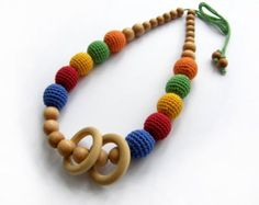 Sale! Rainbow nursing necklace with wooden ring - Teething necklace - Breastfeeding Necklace - Crochet Necklace - Gift for Babywearing Moms