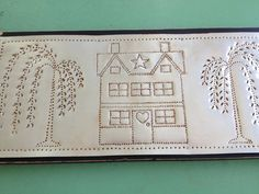 Punch Tin Primitive Saltbox House Willow Trees by PeggyRedmon