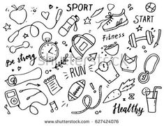 set of hand drawn sport doodle with ball bottle medal food diet fitness and gym elements. vector illustration for healthy and activity life design concept. Doodle Drawings, Doodle Art, Manga Posen, Sports Drawings, Fitness Icon, Doodles, Halloween Doodle, Cartoon Sketches, Sports Images