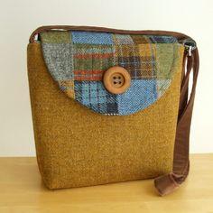 SALE Harris Tweed Messenger Bag Patchwork One by peskycatdesigns