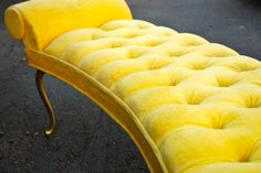 Hollywood Regency Style Tufted Bed Side Bench - Yellow Velvet in Parents bedroom