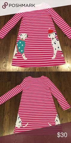 Super Cute Mini Boden Dress Pink and White Striped Dress with with Two of The Cutes Spotted Dogs On Front and Back Mini Boden Like New! 2015-2916 Season Mini Boden Dresses Casual