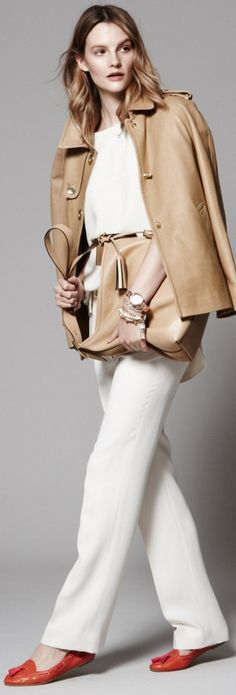 Classic look in camel and white