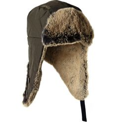 Woolrich rabbit trimmed cotton blend trapper hat