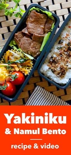 Yakiniku & Namul Bento! Visit our site for 100 quick and easy traditional Japanese bento lunch box recipes and ideas for adults. Pin now for later!