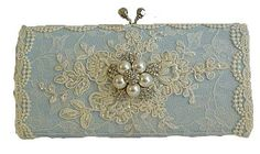 Something Blue Lacey Wedding Clutch Bag .. vintage lace with Swarovski crystals and  pearls