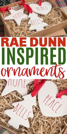These adorable DIY Rae Dunn Inspired Ornaments can be made easily with your Cricut and are perfect for your farmhouse Christmas decor. #raedunn #christmasornaments #cricut #cricutcrafts #christmasdiy via @sweeterbydesign Christmas Crafts For Adults, Christmas Craft Projects, Diy Christmas Ornaments, Diy Christmas Gifts, All Things Christmas, Christmas Fun, Christmas Decorations, Farmhouse Christmas Decor, Craft Box