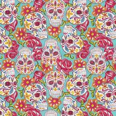 Tela+FQ+::+festive+sugar+skulls+::+de+nosgustanlosretros+por+DaWanda.com