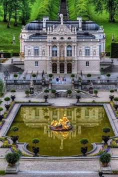 Castle Linderhof, Ettal, Germany. One of King Ludwig\'s jewels. Small (for a castle) but perfect. (Favorite Places Home)