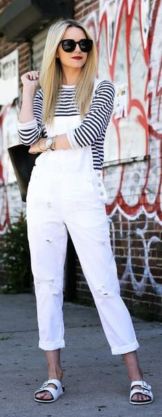 Topshop White Denim Distressed Overall by Atlantic - Pacific