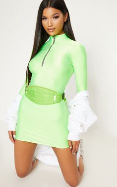 1eaeb8a5a66b Neon Green Disco Slinky High Neck Zip Bodycon Dress. Head online and shop  this season s
