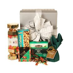 A Glossy Gift Box And Decorated With Ribbons And Includes Your Gift Card Message with Delicious and much More On this Holiday 2018 Themed Gift Baskets, Gourmet Gift Baskets, Gourmet Gifts, Corporate Gift Baskets, Corporate Gifts, Custom Gift Cards, Customized Gifts, Christmas Hampers Australia, Bubble Candy
