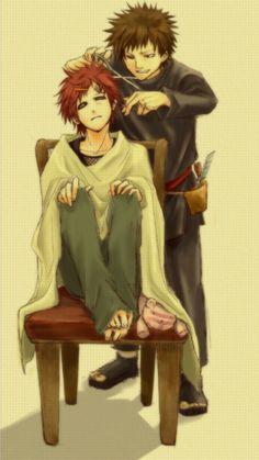 Gaara: Stop hurting my hair Kankuro: Shut up!!!
