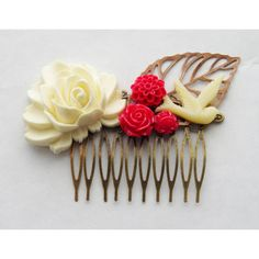 50 Off Canada Day Hair Clip Red and Cream Hair Comb Bird Flower Hair... (16 AUD) ❤ liked on Polyvore featuring accessories, hair accessories, grey, flower hair comb, skeleton hair clips, red hair accessories, leaf hair clip and rose hair accessories