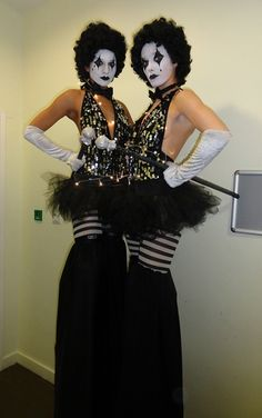 Black & White Circus Stilts. Big Foot Events.