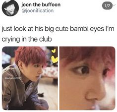 Namjoon even mentioned his cute ass Bambi eyes, my eyes are producing an immense amount of sweat 😔👊 - - - - - Kookie Bts, Jungkook Selca, Bts Bangtan Boy, Namjoon, Bts Memes, Funny Memes, Jikook, Playboy, Bts Tweet