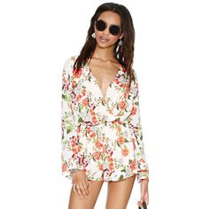 7df90b46c08 White Long Sleeve Floral Jumpsuit ( 27) ❤ liked on Polyvore Ponerse