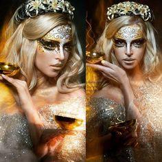 HMUA Angie Y www.angieyartstyle.com #creative #makeup #zodiac #libra #gold #glitter