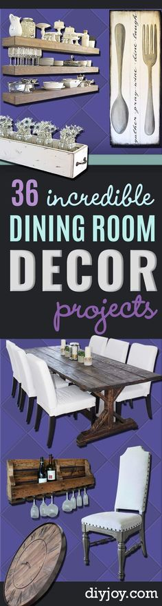 DIY Dining Room Decor Ideas - Cool DIY Projects for Table Chairs Decorations Wall Art Bench Plans Storage Buffet Hutch and Lighting Tutorials Diy Interior, Diy Furniture Table, Do It Yourself Furniture, Bench Plans, Home And Deco, Cool Diy Projects, Handmade Home Decor, Diy Wall, Wall Art