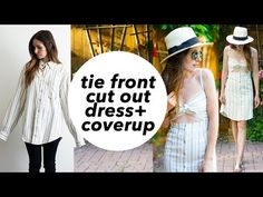 DIY tie front cut-out dress or swim cover up refashion - YouTube