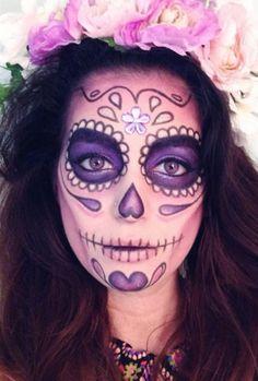 Cute pink & purple sugar skull makeup forr Halloween