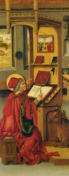 St Luke (1477). Gabriel Mälesskircher (German, c.1425-1495). Oil on panel. Thyssen-Bornemisza Museum. This panel forms part of a group of eight which once belonged to an altarpiece in the monastery at Tegernsee. They depict the four Evangelists, Matthew, Mark, Luke and John. Here St Luke is writing at his desk with his symbol, the bull, at his side, depicted in a realistic way as if it were a domestic pet.