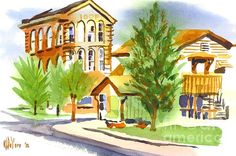 A street scene of Ironton, Missouri in watercolor.