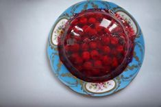 Prosecco jelly with cherry, a very british pudding, great for a spring or summer party