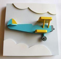 Conjunto de 3 arte de pared de madera de avión por EleosStudio