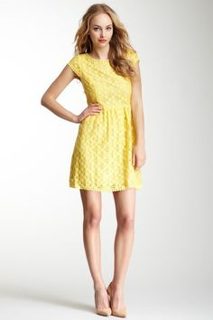 You know I love yellow! >>> Short Sleeve Lace Dress  by Kensie on @HauteLook