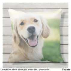 Custom Pet Photo Black And White Striped Outdoor Pillow