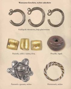 Elements of early medieval Slavic jewellery discovered in the archaeological site of Warszawa-Grochów, Poland. Timeline: c. 11th-12th centuries