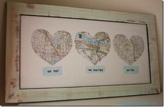 maps of where you met, engaged, and got married. So cute!