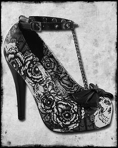 56524335fdcc Iron fist shotgun black white rose skull tattoo spike bow platform heel  shoes